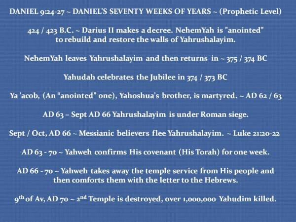 DANIELS SEVENTY WEEKS ~ PROPHETIC LEVEL SEQUENCE